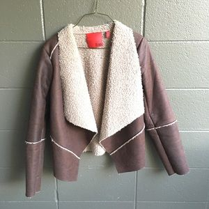 Brown Faux Shearling Open Style Jacket Size S